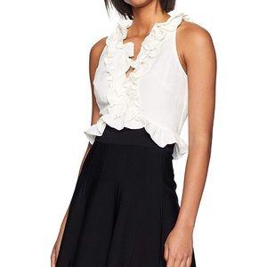 Adorable white ruffle sleeveless linen crop top